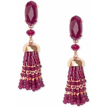 Kendra Scott Dove Rose Gold Statement Earrings In Maroon Jade