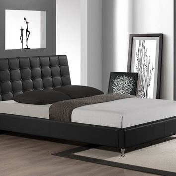 Baxton Studio Zeller Black Modern Bed with Upholstered Headboard - Queen Size Set of