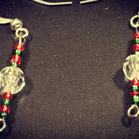 Christmas earrings, red and green beads. Cute Christmas wear. Free shipping dangling earnings, beaded earrings, December jewelry, gift guide