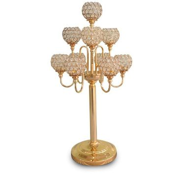 10PCS Metal Gold Candle Holders 83CM 5-Arms With Crystals Stand Pillar Candlestick For Wedding Portavelas Candelabra