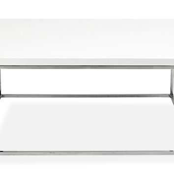 Kings Road Sq. Coffee Table WHITE/CHROME - CLEARANCE