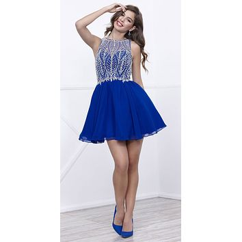 Sleeveless Illusion Short Homecoming Dress Cut Out Back Royal Blue