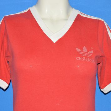 80s Adidas Red Striped Trefoil Jersey t-shirt Extra Small