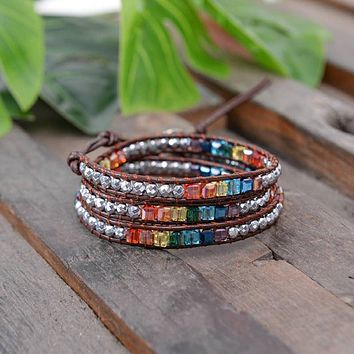 New! 7 Chakra Balancing Leather Wrap Crystal Bracelet with Hematite