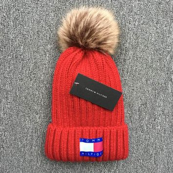 Tommy Hilfiger Knit And Pom Hat Cap Red