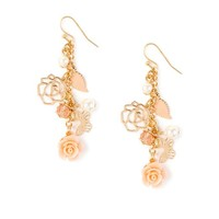 Carved Rose and Dangling Charms Drop Earrings  | Icing