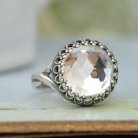 VINTAGE SPARKLES antique silver ring with vintage  Swarovski crystal cab