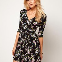 ASOS Skater Dress With Ballet Wrap In Floral Print at asos.com
