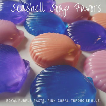 Seashell Soap Favor - Nautical theme seashell soap party favors for Wedding, Bridal, or Baby Showers Custom Made Guest Bath - Pack of 25