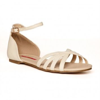 Love Sandal Ankle Strap Flat in Cream