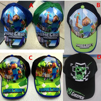 2015 New Cartoon Minecraft JJ Monster Creeper Toy Hat Kids Hats Baseball Caps Adjustable Hat Christmas Gift For Baby Boy Girl Children A0159