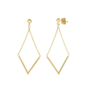 14K Yellow Gold V Shape Bar Hanging On Chain Drop Earrings