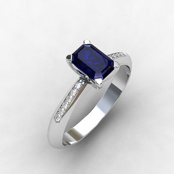 GIA certificated CEYLON blue sapphire, Diamond, emerald cut sapphire, solitaire, engagement ring, Diamond engagement,  emerald cut