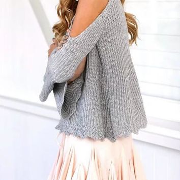 Grey Patchwork Cut Out Spaghetti Straps Off Shoulder V-neck Long Sleeve Sweater