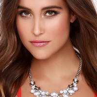 Ocean Gems Silver and Pearl Statement Necklace