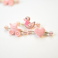 Cute Pink Spring Hair Clips for Toddlers, Baby Hair Accessories