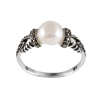 Sterling Silver Freshwater Cultured Pearl & Marcasite Ring (White)