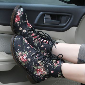 Women's Floral Print Martin Boots Shoes