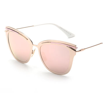 Contain Rose Gold!2016 New Luxury Alloy Cat Eye Sunglasses Cosy Shades Men Women Brand Designer Eyewear Sun Glasses Oculos H817
