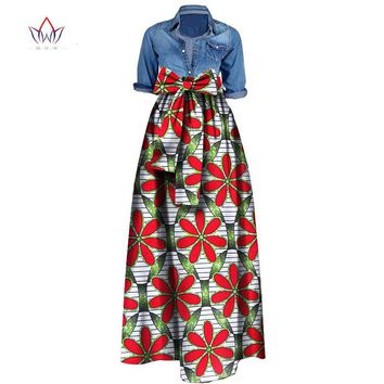 Summer Woman Long Maxi Skirt for Women African Dashiki for women Bazin