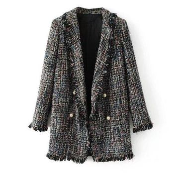 Autumn Women Tweed Jacket Long Sleeve Turn-down Collar Beading Buttons Jacket Frayed Edge Fashion Long Coat