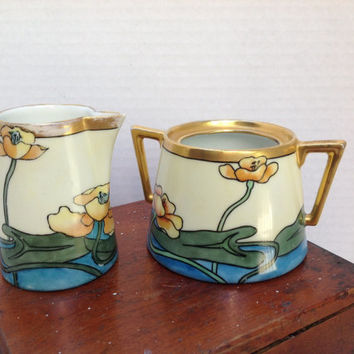 Antique Creamer and Sugar Bowl Art Nouveau Style With Gold Accents Jennings