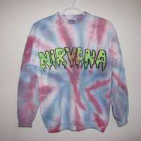 nirvana tie dye glow in the dark slime sweatshirt M by YARD666SALE