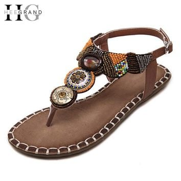 HEE GRAND Bohemia Gladiator Sandals Summer Flip Flops Slip On Flats Vintage Shoes Woman Beaded Creepers Women Shoes XWZ3363