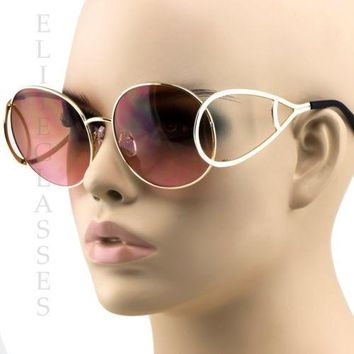 Designer Oversized Round Wide Stylish Metal Arms Women's Fashion Sunglasses