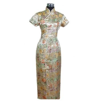 Gold Floral Silk Long Cheongsam One-piece Chinese Qipao Dress