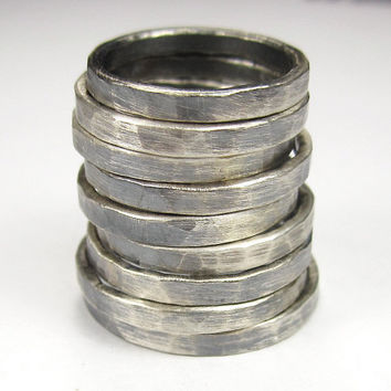 Stacking Rings - Sterling Silver- Oxidized Antique Finish - Hand Hammered 12 Gauge Round Wire