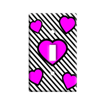 Love Cute Hearts Pink Black Stripes Light Switch Plate Cover
