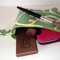 Green Swirl Print Cosmetic Organizer Bag with Silky Polka Dot Lining