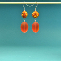 Mosaic and Tangerine Earrings