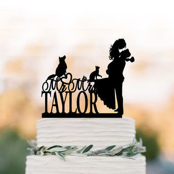 bride and groom Wedding Cake topper with dog and cat, silhouette wedding cake topper. unique personalized wedding cake topper initial