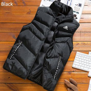 ADIDAS autumn and winter new men's outdoor running sports vest vest jacket down jacket black
