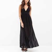 Black High Waisted Chiffon Maxi Dress