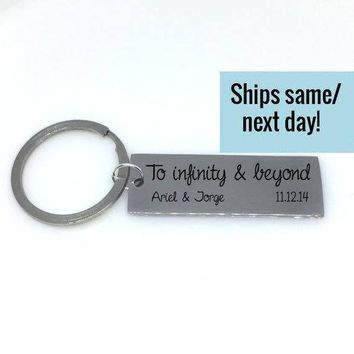 To Infinity and Beyond, Couple Keychain, Initial Keychain, Letter Keychain, Engraved Keychain, Custom Keychain, Customized Keychain
