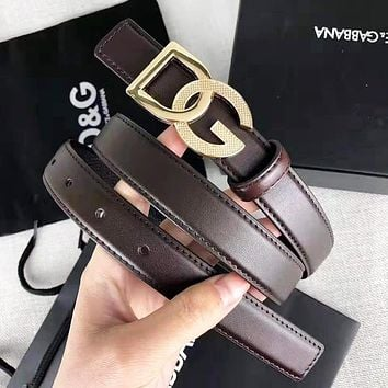 Dolce & Gabbana New fashion letter buckle leather couple belt Coffee width 2.4 cm With Box