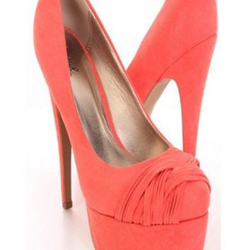 959a41175f4e Coral Faux Suede Pleated Strapped Vamp Platform Pump Heels   Amiclubwear  Heel Shoes on