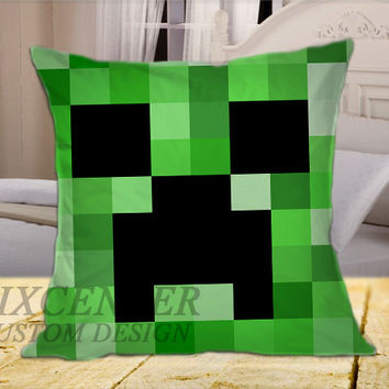 Minecraft Creeper on Square Pillow Cover