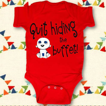 Quit Hiding the Buffet Infant Bodysuit, Quit Hiding the Buffet Shirt, Funny Baby Shower Gift, funny breastfeeding shirt, Applecopter