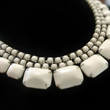 1950s Milk Glass Bib Necklace Choker Mid Century Antique Art Deco Revival Necklace Huge Lozenge Cabs Wedding Bride Bridal Milkglass Necklace