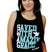JCLU Forever Christian t-shirts — 029-TANKTOP SWAG BLK/TEAL-Christian Shirt
