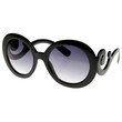 Designer Inspired Round Fashion Sunglasses w/ Baroque Swirl Arms 8410