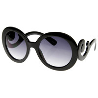 Designer Round Fashion Sunglasses w/ Swirl Arms 8410