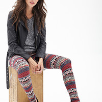 FOREVER 21 Floral Tribal Print Leggings Black/Coral