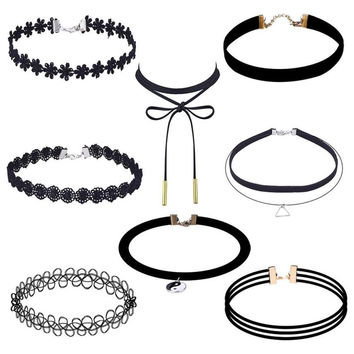 CharmDemon New Arrival 8 Pieces Choker Necklace Set Stretch Velvet Classic Gothic Tattoo Lace Choker or19