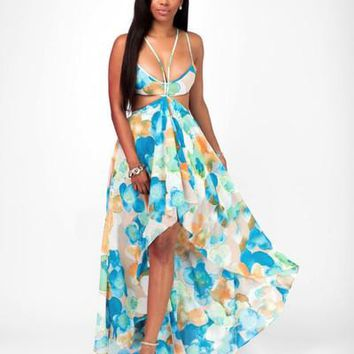 Sexy Backless Low Cut Floral Long Dresses