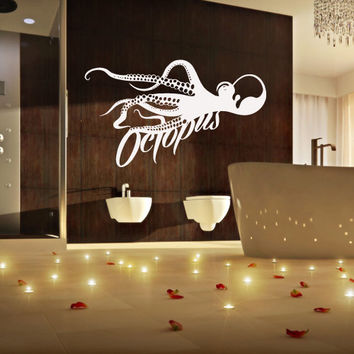 Wall decal decor decals sticker art design octopus tentacles fish jellyfish deep sea ocean animals bedroom  (m1110)